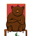 Bear on Chair over Pear